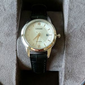 NWT Citizen Eco-drive women's watch, black leather